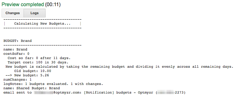 When running the script you might see logs like these indicating that the daily budget has been adjusted to help meet the monthly target spend.