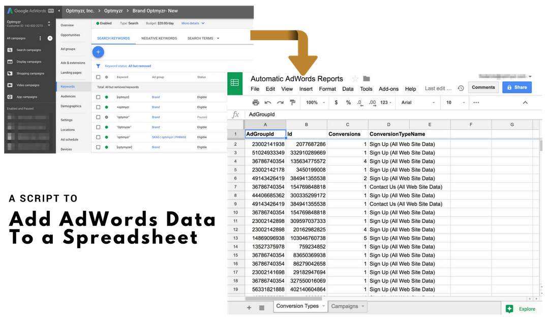 A Script to add any adwords data to a spreadsheet